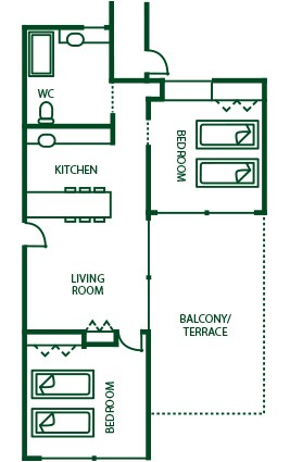 Suite 2 Bedroom Wheelchair acces plan